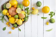 """<p>Oranges, grapefruits, and the like are jam-packed with antioxidants and fiber (just don't cut out the fibrous membrane!). While antioxidants won't necessarily cause you to shed pounds, they protect your cells from damage, reduce inflammation, and <a href=""""https://www.prevention.com/food-nutrition/g26436302/citrus-fruits/"""" rel=""""nofollow noopener"""" target=""""_blank"""" data-ylk=""""slk:more"""" class=""""link rapid-noclick-resp"""">more</a>. A clementine or orange is also a smart alternative to candy or other sugar-laden treats when a sweet craving hits.</p>"""