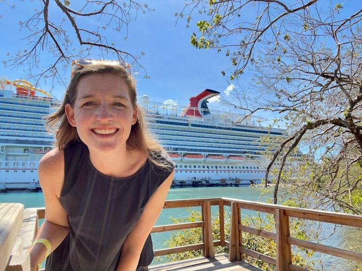 The author stands in front of the Carnival Vista.