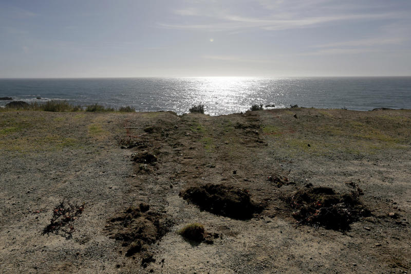 Tracks lead away from the edge of the cliff Wednesday, March 28, 2018, where the SUV of Jennifer and Sarah Hart went off the Pacific Coast Highway near Westport, Calif., on Monday. The bodies of the two women and three of their adopted children were recovered from the vehicle, while three more of their children, Devonte Hart, 15, Hannah Hart, 16, and Sierra Hart, 12, have not been found.