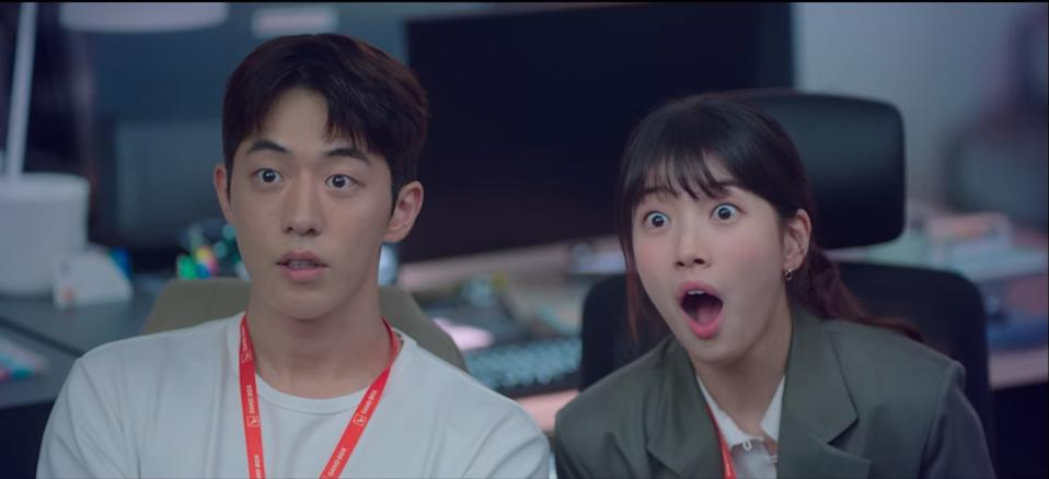 Nam Do San (Nam Joo Hyuk, left) and Seo Dal Mi (Bae Suzy) are astonished when the amount of seed funding for their company is revealed in Start-Up.