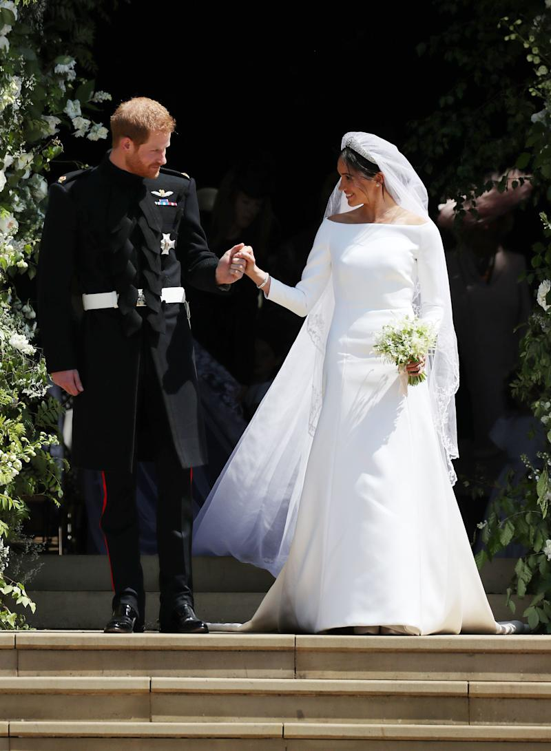 Prince Harry and his bride leave St. George's Chapel after their wedding at Windsor Castle on May 19.
