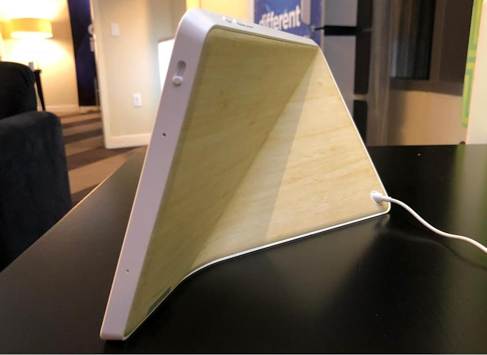 The Smart Display has an angled back allowing you to use it in horizontal or vertical positions.