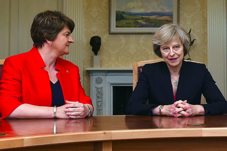 Mrs Foster and Mrs May sat down together last year (Picture: PA)