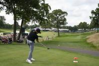 Kramer Hickok tees off on the 18th hole during the third round of the Travelers Championship golf tournament at TPC River Highlands, Saturday, June 26, 2021, in Cromwell, Conn. (AP Photo/John Minchillo)