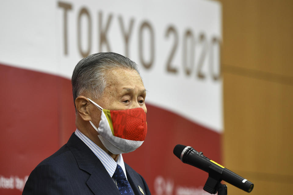 Tokyo 2020 President Yoshiro Mori delivers a speech after an opening plenary session of the three-party meeting on Tokyo 2020 Games additional costs due to the impact of the COVID-19 pandemic in Tokyo, Friday, Dec 4, 2020. (Kazuhiro Nogi/Pool Photo via AP)