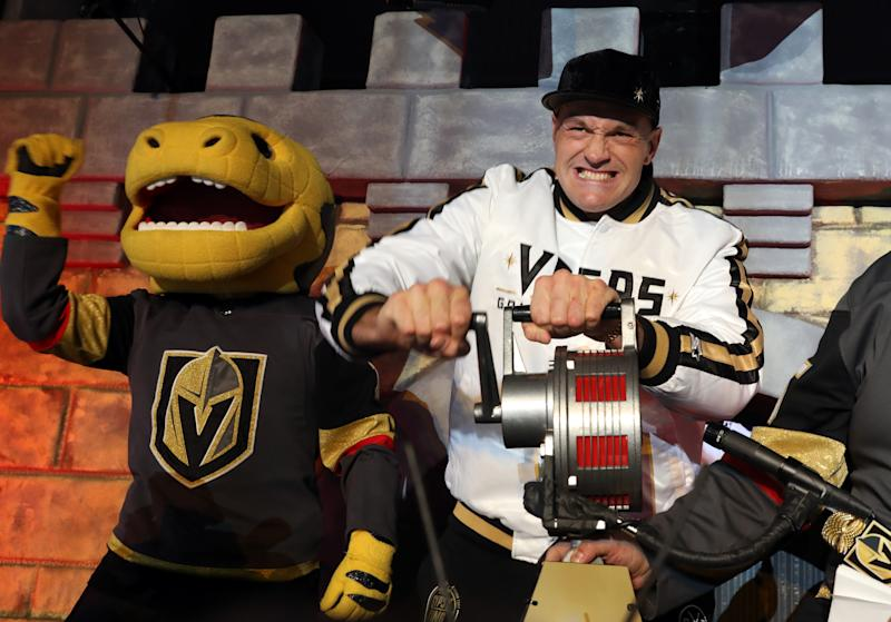 LAS VEGAS, NEVADA - FEBRUARY 15: Heavyweight boxer Tyson Fury sounds the siren prior to a game between the Vegas Golden Knights and the New York Islanders at T-Mobile Arena on February 15, 2020 in Las Vegas, Nevada. (Photo by Zak Krill/NHLI via Getty Images)