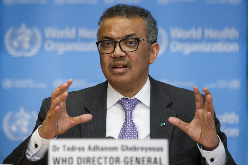 Tedros Adhanom Ghebreyesus, Director General of the World Health Organisation, speaks during a news conference on updates regarding on the novel coronavirus COVID-19 in Geneva.