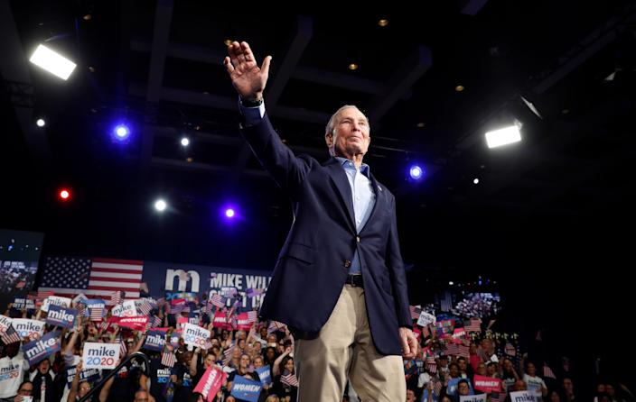 Michael Bloomberg speaks at his Super Tuesday night rally in West Palm Beach, Florida on March 3, 2020. (Marco Bello/Reuters)