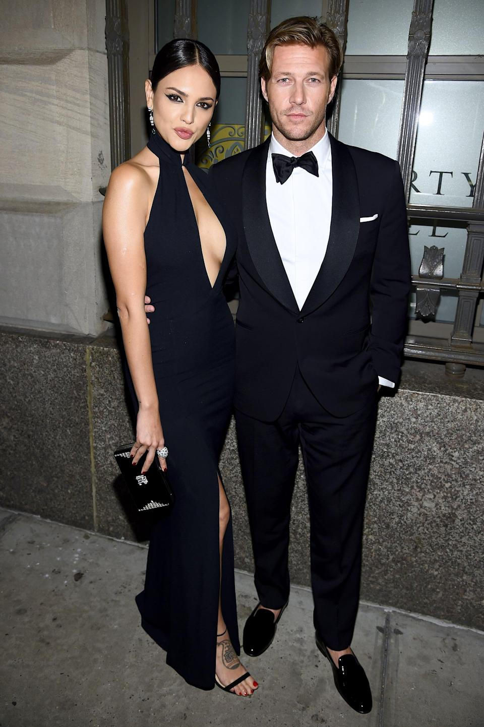 """<p>Not long after breaking up with Olympia, Luke was photographed with actress Eiza González during New York Fashion Week in September 2019. Two months later, they seemingly made their romance official when <a href=""""http://extratv.com/2019/11/11/pda-alert-eiza-gonzalez-and-luke-bracey-confirm-relationship-with-a-kiss/"""" class=""""link rapid-noclick-resp"""" rel=""""nofollow noopener"""" target=""""_blank"""" data-ylk=""""slk:they were caught kissing"""">they were caught kissing</a> in Los Angeles. In December 2019, <a href=""""http://www.justjared.com/2019/12/07/eiza-gonzalez-boyfriend-luke-bracey-bare-hot-bodies-at-the-beach-in-mexico/http://www.justjared.com/2019/12/07/eiza-gonzalez-boyfriend-luke-bracey-bare-hot-bodies-at-the-beach-in-mexico/"""" class=""""link rapid-noclick-resp"""" rel=""""nofollow noopener"""" target=""""_blank"""" data-ylk=""""slk:the couple took a romantic trip to Tulum, Mexico"""">the couple took a romantic trip to Tulum, Mexico</a>, where they packed on the PDA, though there were few sightings of the two together after that. By summer 2020, <a href=""""http://www.eonline.com/news/1203113/where-timothee-chalamet-and-eiza-gonzalezs-romance-stands-after-that-cabo-getaway"""" class=""""link rapid-noclick-resp"""" rel=""""nofollow noopener"""" target=""""_blank"""" data-ylk=""""slk:Eiza was sparking dating rumors with (her now-ex) Timothée Chalamet"""">Eiza was sparking dating rumors with (her now-ex) Timothée Chalamet</a>. </p>"""