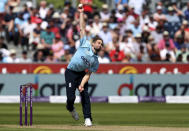 England's Chris Woakes bowls a delivery during the first one day international cricket match between England and Sri Lanka, in Chester-le-Street, England, Tuesday, June 29, 2021. (AP Photo/Scott Heppell)