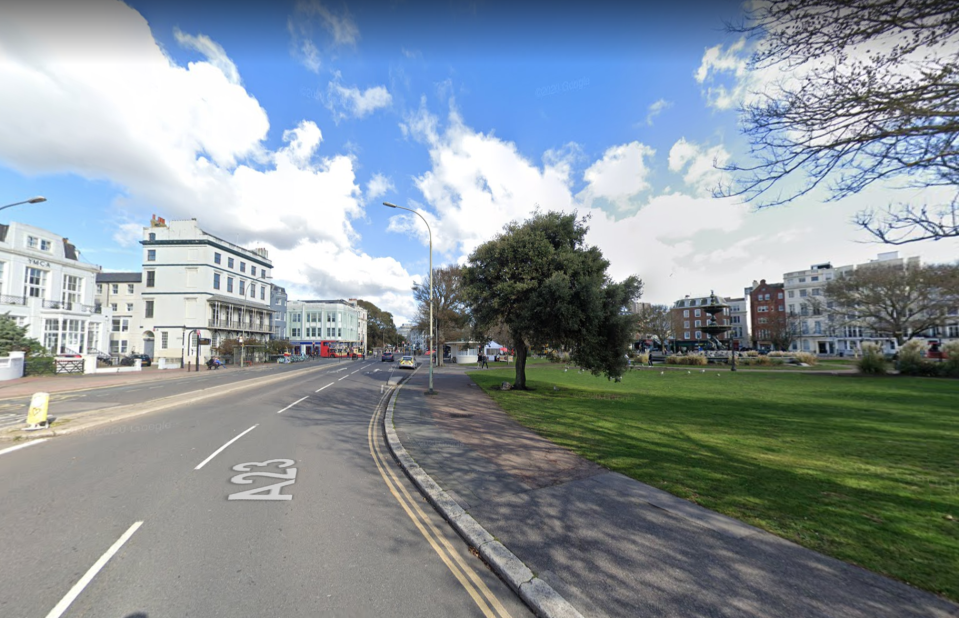 Sussex Police said officers were called to reports of a substance being thrown over the victim in Steine Gardens around 4.20 in the afternoon.