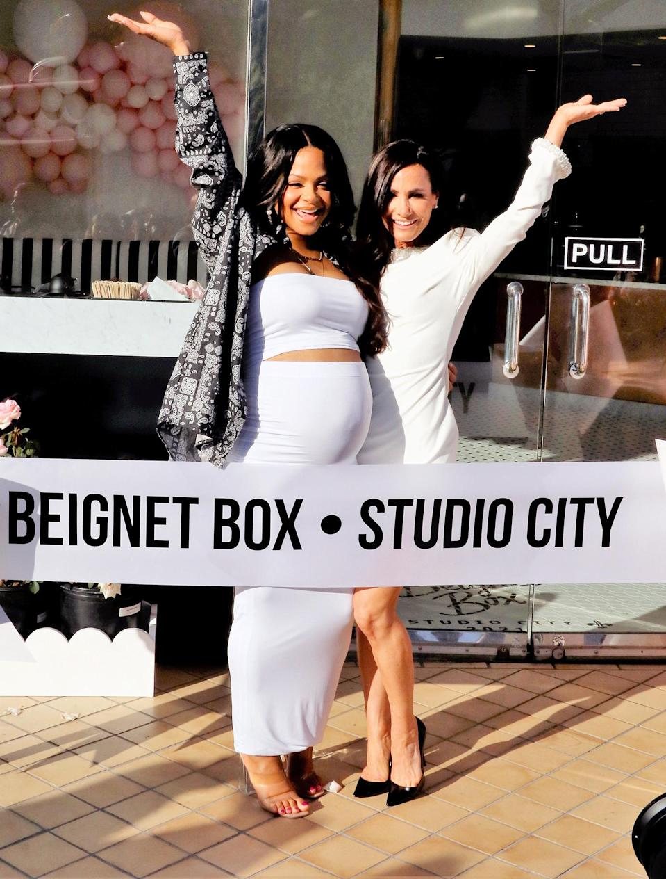<p>Pregnant Christina Milian was spotted at her Beignet Box grand opening in Studio City, California.</p>