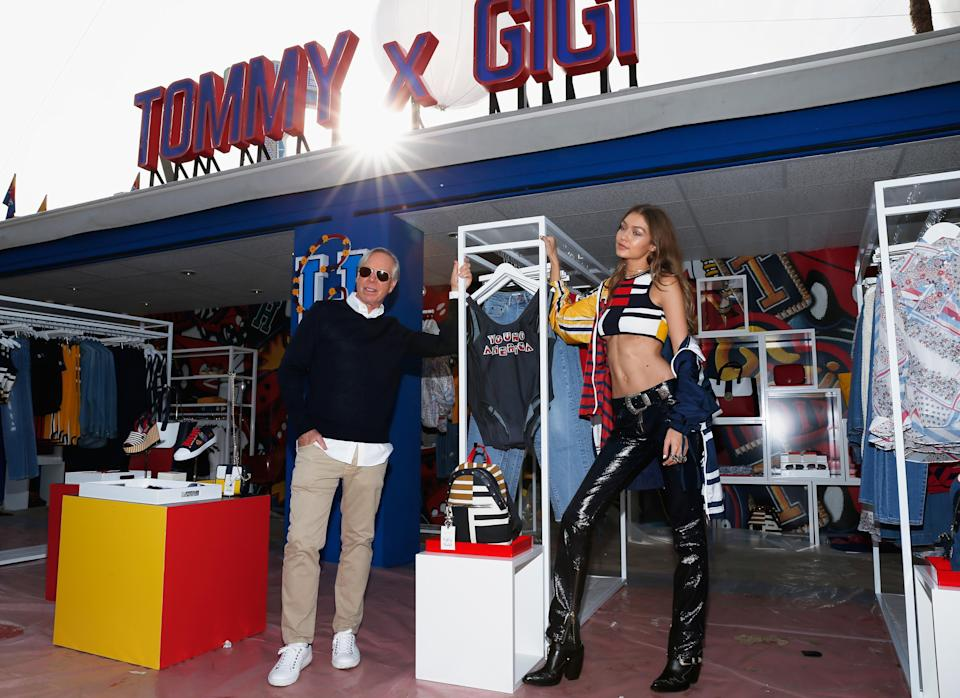 <p>People couldn't wait to get their hands on the Gigi-approved collection with TommyLand's pop-up shop selling out.<br><i>[Photo: Getty]</i> </p>
