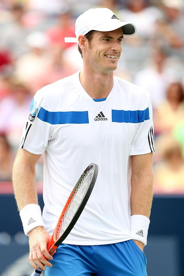 MONTREAL, QC - AUGUST 07: Andy Murray of Great Britain plays Marcel Granollers of Spain during the Rogers Cup at Uniprix Stadium on August 7, 2013 in Montreal, Quebec, Canada. (Photo by Matthew Stockman/Getty Images)