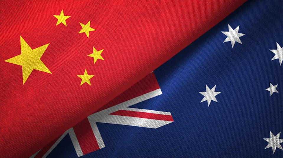 Australia and China flag together realtions textile cloth fabric texture