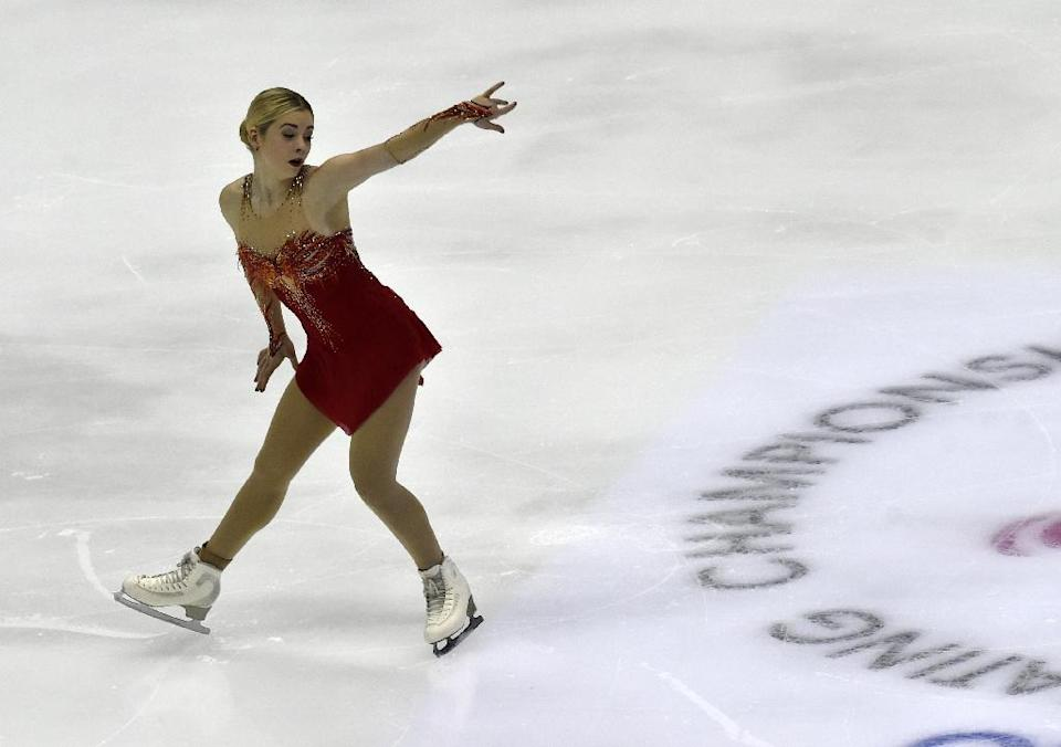 American Gracie Gold performs during the ladies free skate at the ISU Four Continents Figure Skating Championships in Taipei on February 20, 2016 (AFP Photo/Sam Yeh)