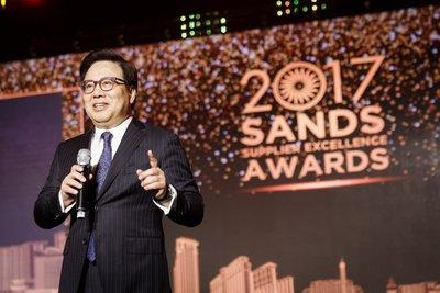 Dr. Wilfred Wong, president of Sands China Ltd., addresses supplier representatives at the fifth Sands Supplier Excellence Awards Wednesday at The Venetian Macao.
