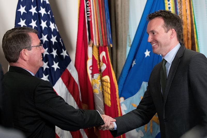 On May 18, 2016, Eric Fanning (right) was sworn in as the secretary of the Army by Defense Secretary Ash Carter. (Drew Angerer/Getty Images)