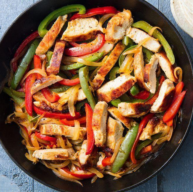 """<p>Fajitas are the perfect <a href=""""https://www.delish.com/uk/cooking/recipes/g32768299/easy-dinner-recipes/"""" rel=""""nofollow noopener"""" target=""""_blank"""" data-ylk=""""slk:weeknight dinner"""" class=""""link rapid-noclick-resp"""">weeknight dinner</a>. Minimal prep and minimal cook time means these can be on your table FAST. </p><p>Get the <a href=""""https://www.delish.com/uk/cooking/recipes/a30146397/easy-chicken-fajitas-recipe/"""" rel=""""nofollow noopener"""" target=""""_blank"""" data-ylk=""""slk:Chicken Fajitas"""" class=""""link rapid-noclick-resp"""">Chicken Fajitas</a> recipe.</p>"""