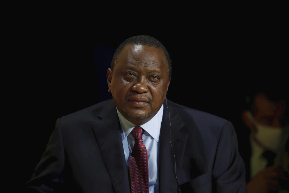 """FILE - Kenya's President Uhuru Kenyatta attends the annual tech conference """"Inno Generation"""" organized by French investment bank Bpifrance in Paris, Thursday, Oct. 1, 2020. Hundreds of world leaders, powerful politicians, billionaires, celebrities, religious leaders and drug dealers have been stashing away their investments in mansions, exclusive beachfront property, yachts and other assets for the past quarter century, according to a review of nearly 12 million files obtained from 14 different firms located around the world. The report released Sunday, Oct. 3, 2021 by the International Consortium of Investigative Journalists involved 600 journalists from 150 media outlets in 117 countries. Kenya's President Uhuru Kenyatta is one of 330 current and former politicians identified as beneficiaries of the secret accounts.(Gonzalo Fuentes/Pool via AP, File)"""