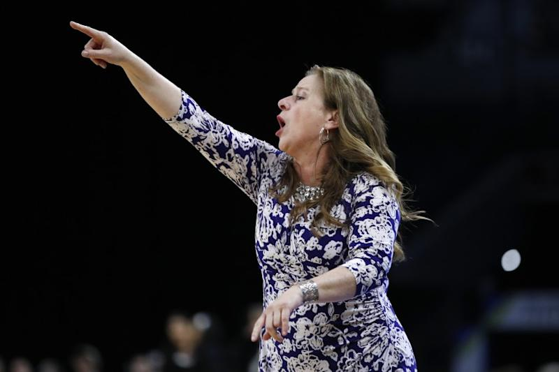 UCLA coach Cori Close is shown against Stanford in the semifinals of the Pac-12 women's tournament March 7, 2020.