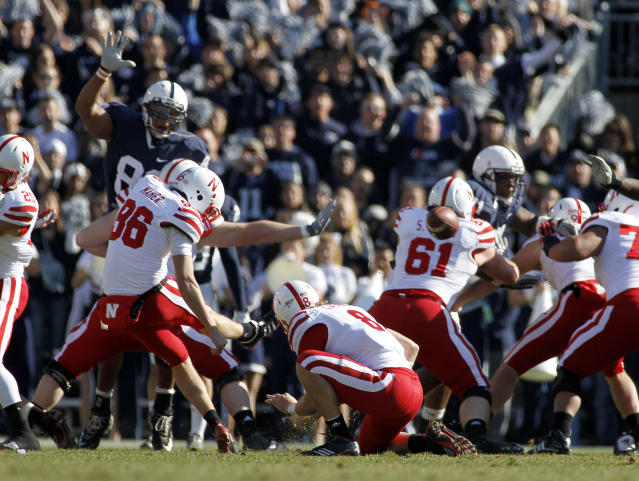 STATE COLLEGE, PA - NOVEMBER 12: Brett Maher #96 of the Nebraska Cornhuskers kicks a field goal against the Penn State Nittany Lions during the game on November 12, 2011 at Beaver Stadium in State College, Pennsylvania. (Photo by Justin K. Aller/Getty Images)