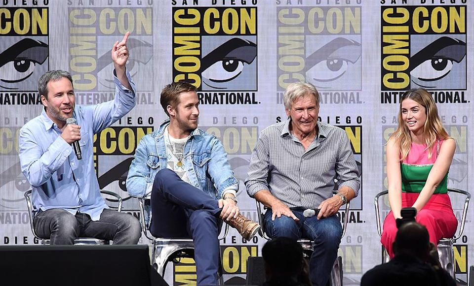<p>Director Denis Villeneuve, Ryan Gosling, Harrison Ford, and Ana de Armas at the Warner Bros. Pictures Presentation at Comic-Con on July 22, 2017 in San Diego. (Photo: Kevin Winter/Getty Images) </p>