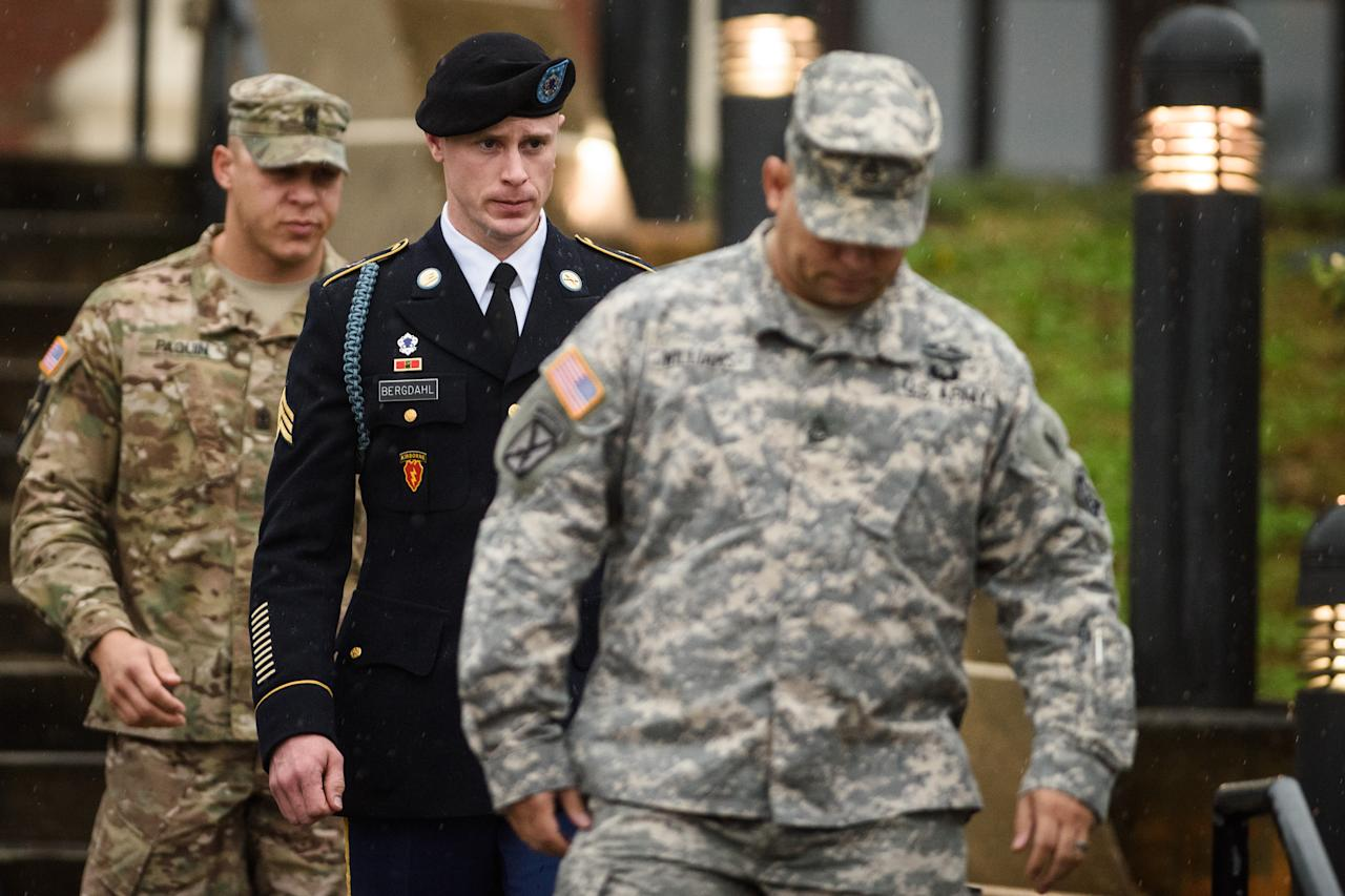 <p> U.S. Army Sgt. Robert Bergdahl leaves the courthouse Tuesday, Dec. 22, 2015, after his arraignment hearing at Fort Bragg, N.C. Bergdahl, who disappeared in Afghanistan in 2009 and was held by the Taliban for five years, was scheduled to appear Tuesday before a military judge on charges of desertion and misbehavior before the enemy. (Andrew Craft /The Fayetteville Observer via AP) MANDATORY CREDIT </p>