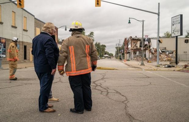 Ontario Premier Doug Ford on Tuesday visited downtown Wheatley, where an explosion destroyed two buildings on Aug. 26. (Government of Ontario - image credit)