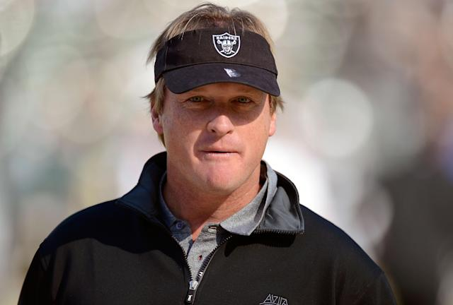 OAKLAND, CA - NOVEMBER 18: Former head coach of the Oakland Raiders and now ESPN Monday Night Football Analyst Jon Gruden looks on during pre-game warm ups before an NFL football game between the New Orleans Saints and Oakland Raiders at O.co Coliseum on November 18, 2012 in Oakland, California. (Photo by Thearon W. Henderson/Getty Images)