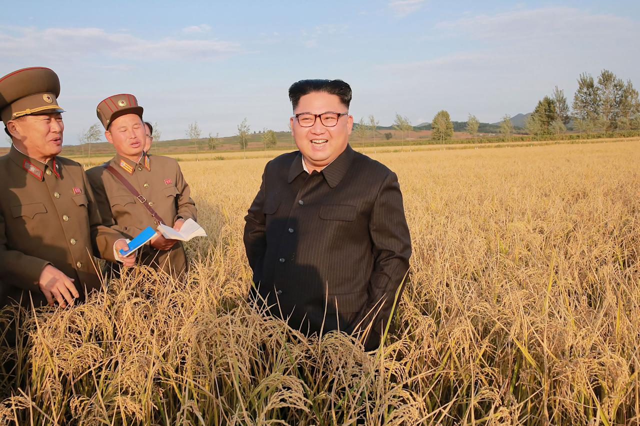 <p>This undated picture released from North Korea's official Korean Central News Agency (KCNA) shows North Korean leader Kim Jong-Un visiting Farm No. 1116 under Korean People's Army (KPA) Unit 810 at an undisclosed location. (STR/AFP/Getty Images) </p>