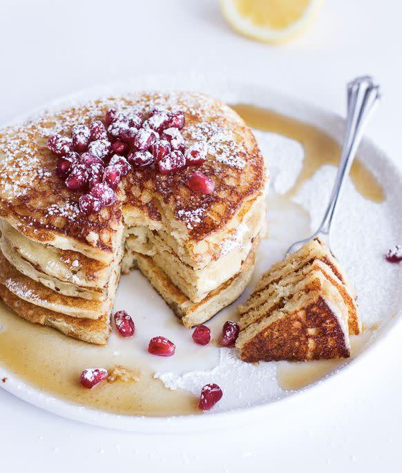 "<strong>Get the<a href=""http://www.halfbakedharvest.com/lemon-ricotta-pancakes/"" rel=""nofollow noopener"" target=""_blank"" data-ylk=""slk:Lemon Ricotta Pancakes recipe"" class=""link rapid-noclick-resp""> Lemon Ricotta Pancakes recipe</a> from Half Baked Harvest</strong>"
