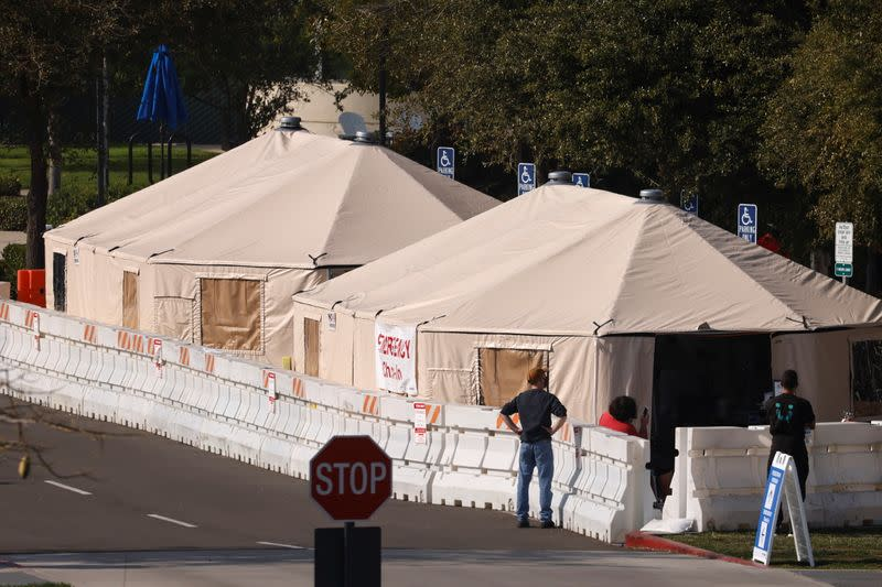 Emergency room check-in tents are shown outside UCI Medical Center during the outbreak of the coronavirus disease (COVID-19) in Orange, California