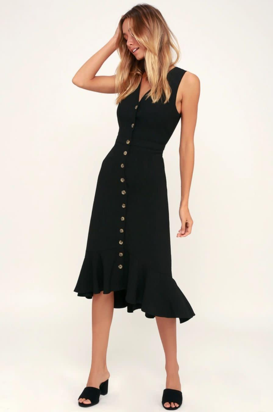 "<strong><a href=""https://www.lulus.com/products/when-we-first-met-black-button-front-midi-dress/694972.html"" rel=""nofollow noopener"" target=""_blank"" data-ylk=""slk:Lulu's black button-front midi dress"" class=""link rapid-noclick-resp"">Lulu's black button-front midi dress</a>, $59</strong>"