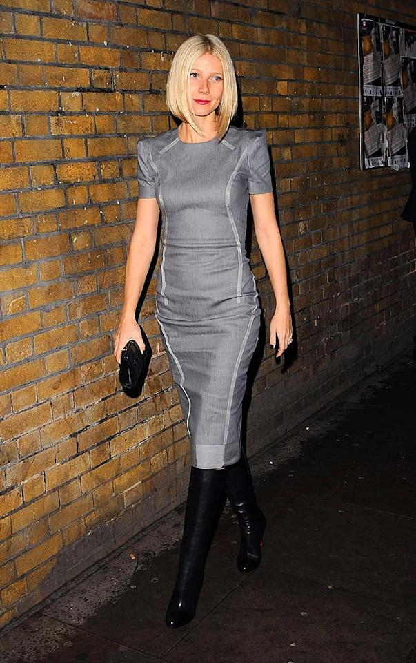 "Gwyneth Paltrow's gray fitted Giles Spring '09 dress, with structured shoulders and visible seams, accentuated her fit and flawless frame. Eamonn McCormack/<a href=""http://www.wireimage.com"" target=""new"">WireImage.com</a> - November 6, 2008"