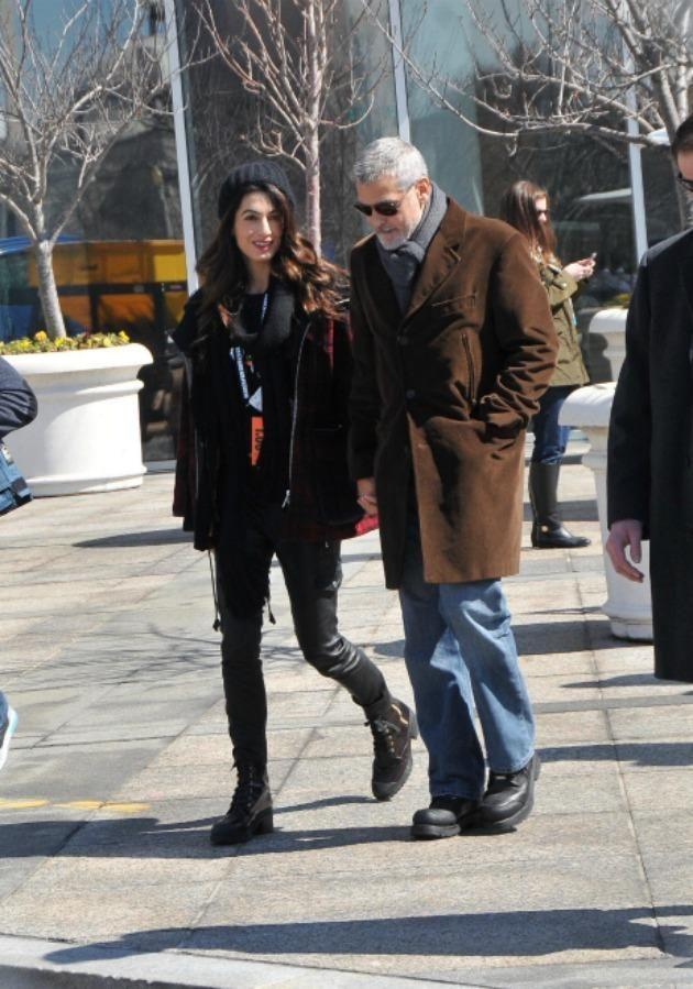George Clooney walked alongside his wife Amal, who is a human rights lawyer. Source: Mega