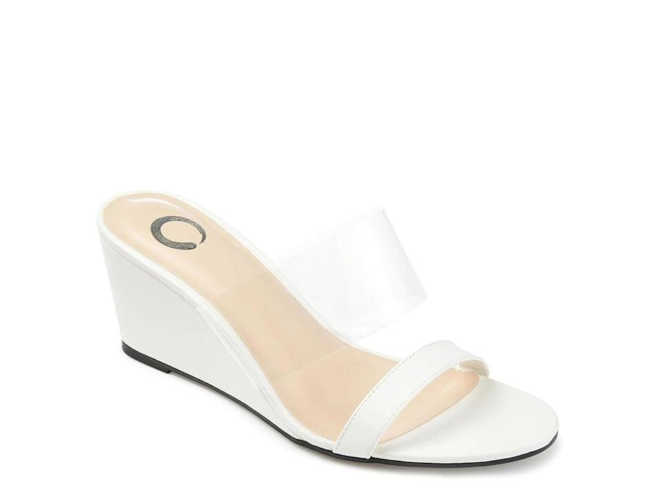 <p>Feel dressed up and wear these fun <span>Journee Collection Angelina Wedge Sandals</span> ($50).</p>