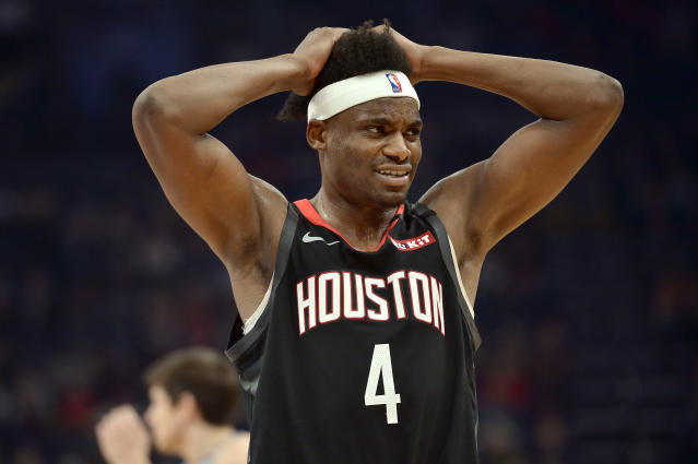 Houston Rockets forward Danuel House Jr. (4) reacts during the second half of the team's NBA basketball game against the Memphis Grizzlies on Tuesday, Jan. 14, 2020, in Memphis, Tenn. (AP Photo/Brandon Dill)