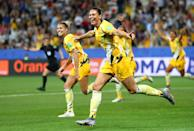 Emily Gielnik of Australia celebrates after her team's first goal during the 2019 FIFA Women's World Cup France Round Of 16 match between Norway and Australia at Stade de Nice on June 22, 2019 in Nice, France. (Photo by Martin Rose/Getty Images )