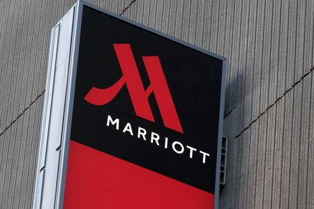 Signage for the New York Marriott Marquis is seen in Manhattan, New York
