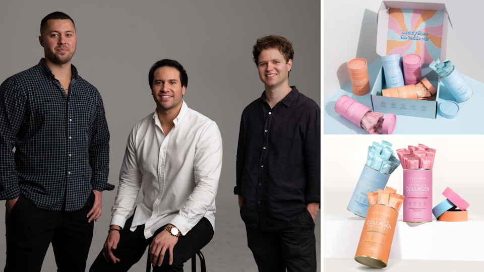 Josh, Isaak and Lachlan are the three brains behind The Collagen Co, a booming $5 million eCommerce collagen powder start-up. (Source: Supplied)