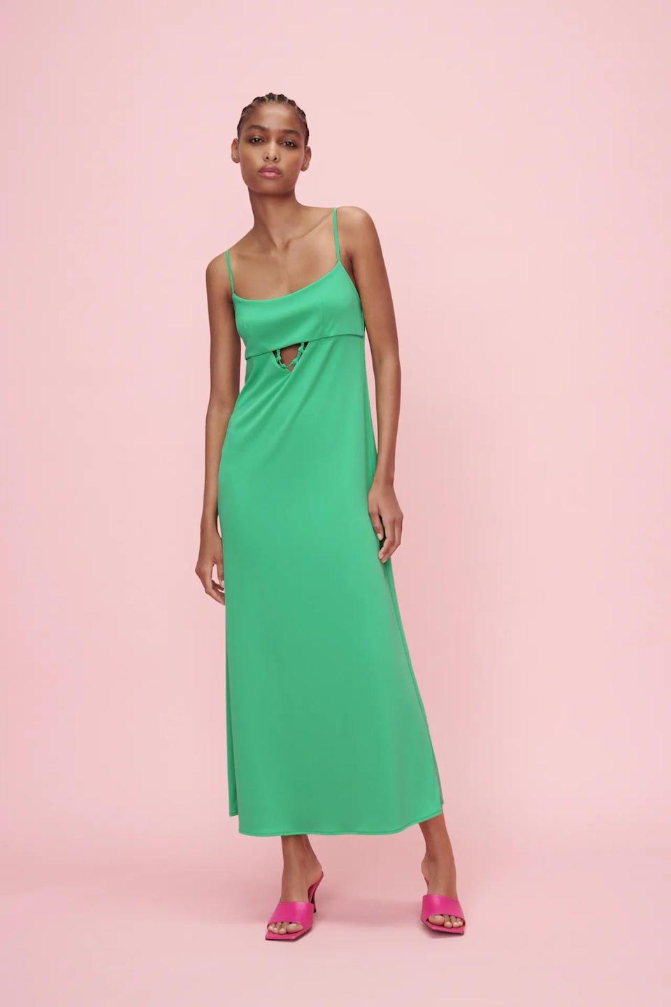 """<p>Go with a """"less is more"""" approach when styling this <span>Zara Cut Out Maxi Dress</span> ($40), so it can stand out. Pair it with some sleek thong sandals or some minimalist mules to finish off the look.</p>"""