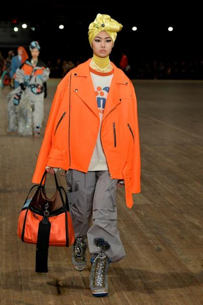 Near-luminous orange was seen at Marc Jacobs, with many designers pairing clashing hues