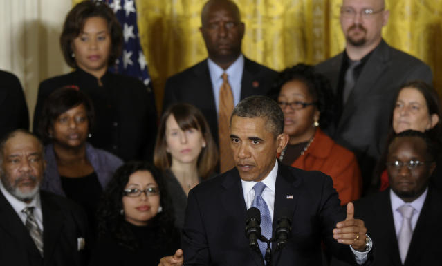 President Barack Obama speaks about unemployment benefits, Tuesday, Jan. 7, 2014, during an event in the East Room of the White House in Washington. The president applauded a Senate vote advancing legislation to renew jobless benefits for the long-term unemployed as an important step. The Senate voted 60-37 Tuesday to clear the bill's first hurdle. But Republicans who voted to move ahead still want concessions that will have to be worked out before final passage. The Republican-controlled House would also have to vote for it. (AP Photo/Susan Walsh)