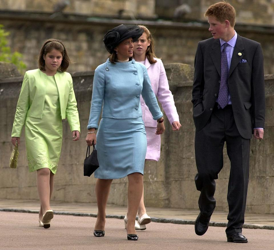 Prince Harry arrives with (left-right) Princess Eugenie, Princess Xenia of Germany and Princess Beatrice at St George's Chapel in the precincts of Windsor Castle after attending a service of thanksgiving. * Fifty Royals were at Windsor to celebrate the Duke of Edinburgh's 80th birthday. Family and close friends were later guests at a birthday lunch. (Photo by Fiona Hanson - PA Images/PA Images via Getty Images)