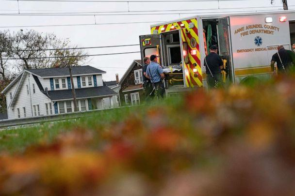 PHOTO: Firefighters and paramedics with Anne Arundel County Fire Department load a patient into an ambulance while responding to a 911 emergency call, Nov. 11, 2020, in Glen Burnie, Maryland. (Alex Edelman/Getty Images, FILE)