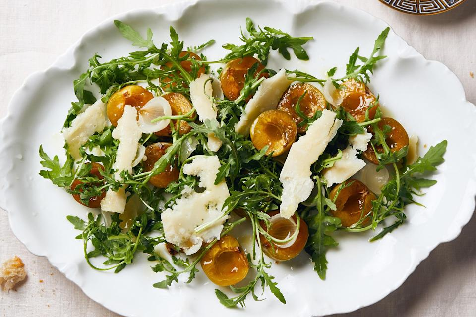 """For the best play between sweet, hot, and salty ingredients, look for spiky arugula at the farmers' market. It's much more peppery and sturdy than what you'll find at the supermarket. <a href=""""https://www.epicurious.com/recipes/food/views/arugula-with-italian-plums-and-parmesan?mbid=synd_yahoo_rss"""" rel=""""nofollow noopener"""" target=""""_blank"""" data-ylk=""""slk:See recipe."""" class=""""link rapid-noclick-resp"""">See recipe.</a>"""