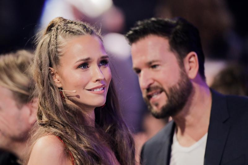 """21 February 2020, North Rhine-Westphalia, Cologne: Laura Müller, TV personality, and Michael Wendler, singer, talk to each other during a commercial break of the RTL dance show """"Let's Dance"""" in the Coloneum. Photo: Rolf Vennenbernd/dpa (Photo by Rolf Vennenbernd/picture alliance via Getty Images)"""
