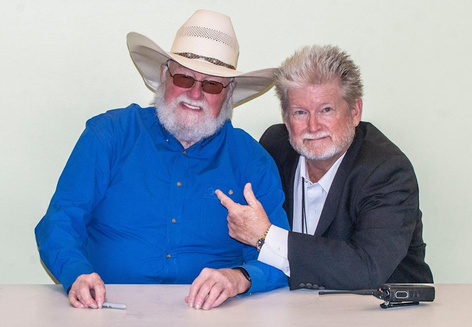 Charlie Daniels, left, with Allen Sanders, general manager of the Montgomery Performing Arts Centre, prior to Daniels MPAC concert on Aug. 2, 2019.
