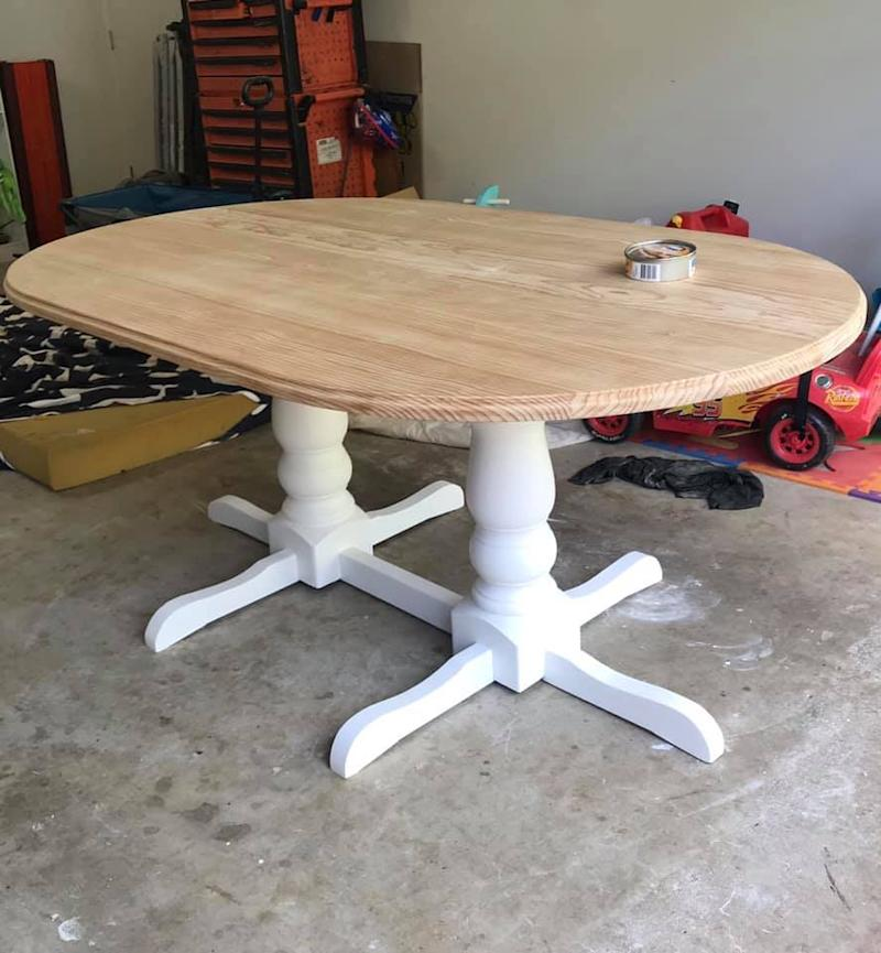 The table was first sanded back then painted and waxed. Photo: Facebook (supplied).